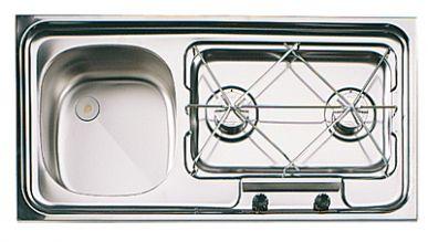 COMBINE  2 FEUX  INOX SUTER CUVE A GAUCHE - combiné réchaud 2 feux cuve à gauche