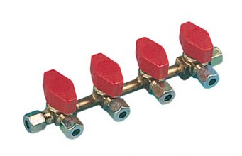 VANNE GAZ TRUMA 4 VOIES  ط  E10/S8 + RACCORDS BICONES -Vanne gaz truma 4 voies