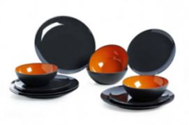 COFFRET VAISSELLE MELAMINE GRIS/ORANGE 12 PIECES - DINNER SET GIMEX 12 PIECES