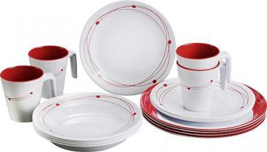 vaisselle-melamine-service-de-vaisselle-set-de-table-blanc-rouge-16-pièces