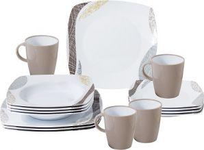 vaisselle-melamine-set-de-table-blanc-marron-16-pieces
