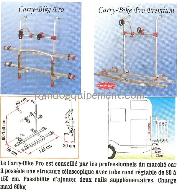 CARRY-BIKE PRO PORTE VELOS CAMPING CAR 2 VELOS