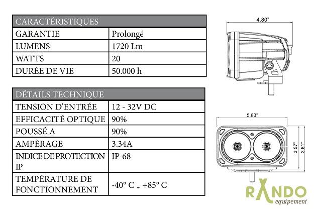 PHARE LED « OPTIMUS » 10W  LONGUEUR:  18 CM VISION X  XIL-OP210F