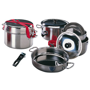 Popote inox 9 pieces accessoires cuisine camping car for Accessoires cuisine inox