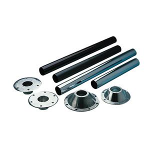 Pied standard amovible platine haute ou basse metal chrome pour pied de table - Pied pour table basse ...