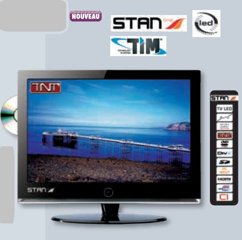 tv hd stanline 15 6 39 39 led dvd televiseur hd led et lecteur dvd stanline 16 9. Black Bedroom Furniture Sets. Home Design Ideas