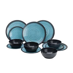 service a vaisselle 12 pieces melanime granite bleu pour camping car et bateau. Black Bedroom Furniture Sets. Home Design Ideas