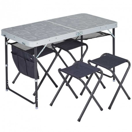 table valise camping avec 4 tabourets trigano. Black Bedroom Furniture Sets. Home Design Ideas